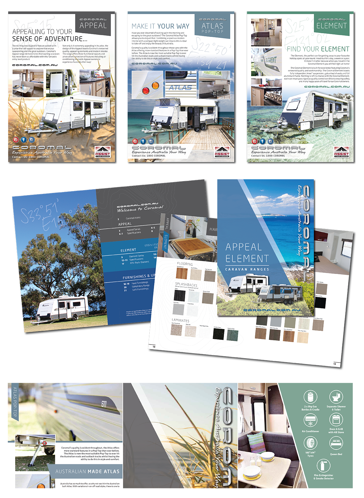 Printed brochure designs and graphics for Fleetwood.
